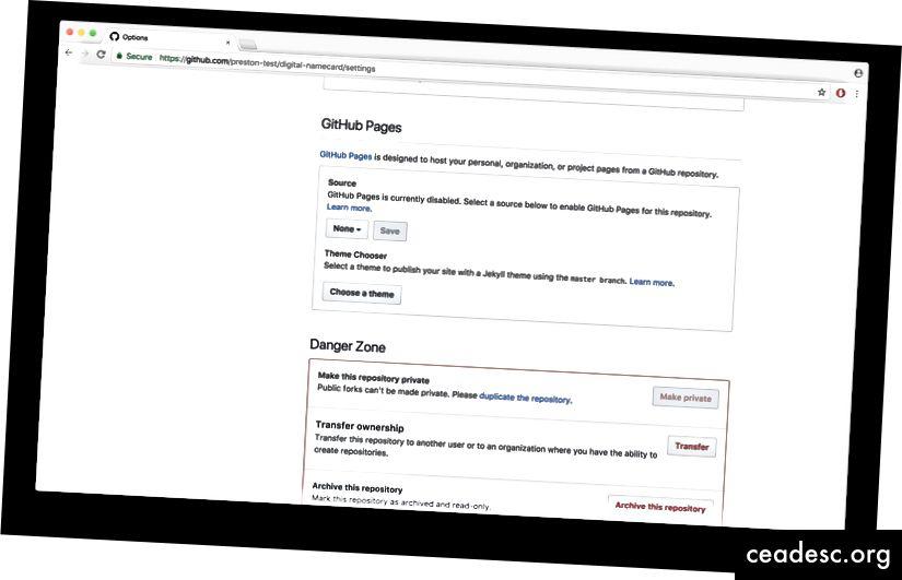 GitHub Pages -asetukset - valitse lähdeksi Päähaaro