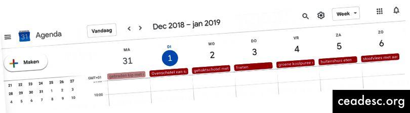 Automatiseeritud nädala menüü jagatud Google'i kalendris