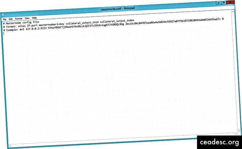 Masternode konfigurācijas fails