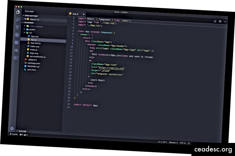 Dự án ReactJS mới được tạo trong Mã VS