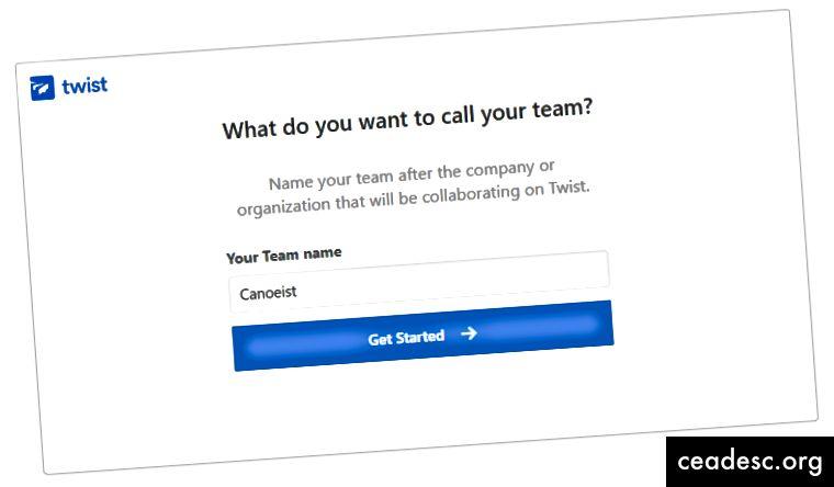 Twisti registreerumisprotsess aitab teil oma meeskonda luua ja selgitada, kuidas kõik töötab.