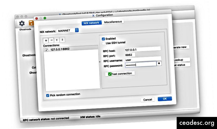 أداة Ghostnode مع اتصال تم إعداده إلى محفظة NIX المحلية