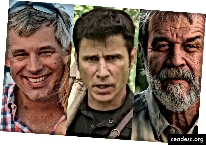 De izquierda a derecha: Mark, Hawke, Buck