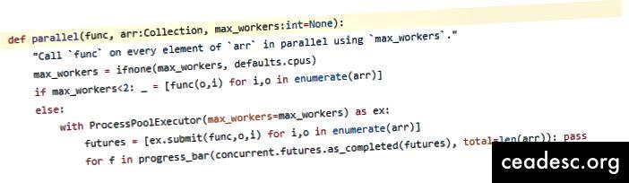Изходният код за fastai.core.parallel, не е толкова страшен, колкото изглежда