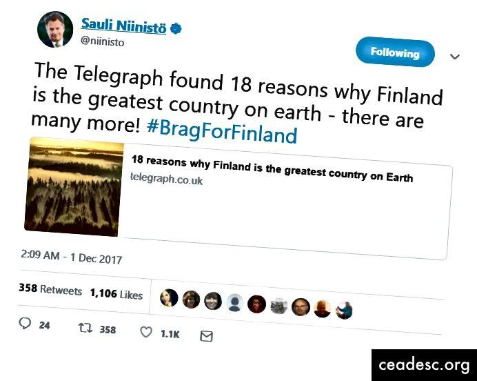 Je Niinistö poskušal Fince spodbuditi, da se nekoliko pohvalijo, hkrati pa ostati skromen?