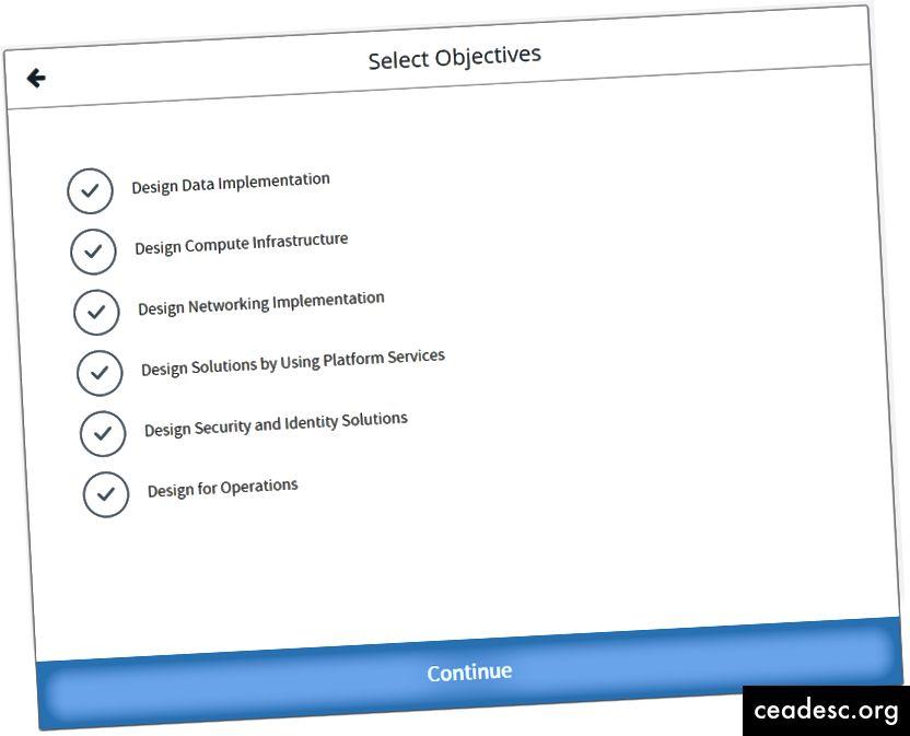 Sélection de vos objectifs de test de pratique dans l'un des écrans MeasureUp