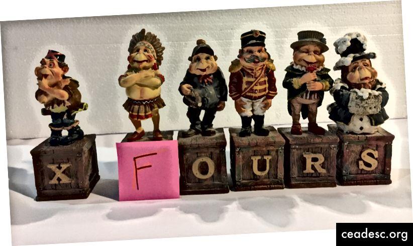 Les six statues ne devaient à l'origine que constituer le nom de l'équipe: XFours