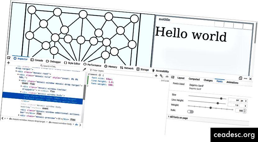 Modification de la police «Hello word» à l'aide des outils de développement