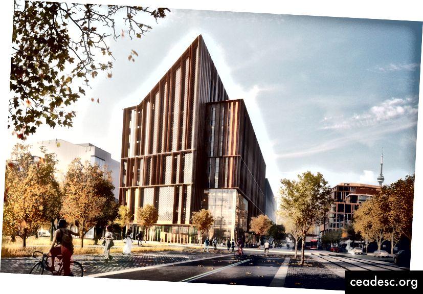 El ganador del concurso de diseño Arbor de George Brown College fue este esquema de Moriyama & Teshima y Acton Ostry. El sistema estructural es tan rentable que podría transformar la forma en que se construyen los edificios. (Cortesía de George Brown College)