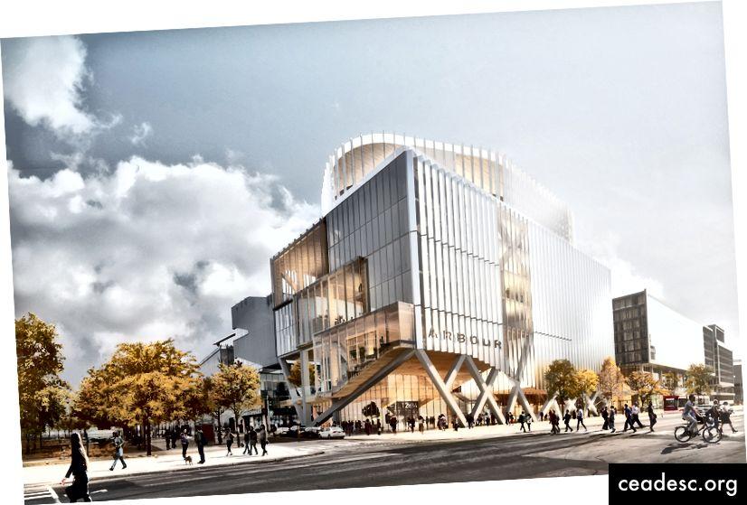 """El diseño de Provencher Roy Architects (con Arup Engineering y Turner Fleischer Architects) propuso una tecnología escalonada, que permite una flexibilidad extrema de uso. """"Construyeron estas armaduras de dos pisos y las escalonaron, y eso creó una superestructura para el edificio. Luego, podría colocar pisos entre los volúmenes de dos pisos """", dice Ferrera. """"Fue un edificio dramáticamente hermoso y flexible. Si un año quisiéramos tener una cancha de básquetbol allí, podríamos tener una cancha de básquetbol, y al año siguiente podría poner dos pisos de oficinas. Así que realmente estaba preparado para el futuro desde una perspectiva de planificación. """"(Cortesía de George Brown College)"""