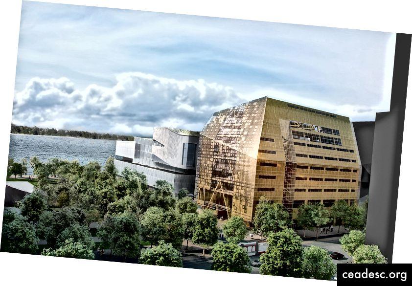 El esquema de Patkau Architects (con MacLennan Jaunkalns Miller Architects) propuso un edificio de madera con un edificio de vidrio a su alrededor.