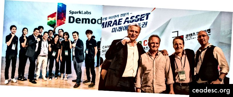 Di akhir DemoDay7 di Seoul. Termasuk dalam gambar adalah Jimmy Kim (Co-founder di SparkLabs Group), Eugene Kim (Co-founder), HanJoo Lee (Co-founder), Frank Meehan (Co-founder), Jay McCarthy (Co-founder) dan Rob DeMillo ( Mitra Ventura)