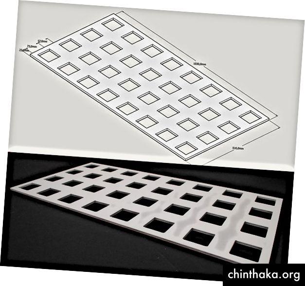 Oben: Panel Design; Unten: MDF-Prototyp