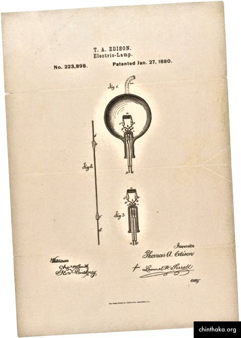 Thomas Edisons Patentzeichnung und Anmeldung zur Verbesserung elektrischer Lampen, patentiert am 27. Januar 1880; Aufzeichnungen des Patent- und Markenamtes; Aufzeichnungsgruppe 241; Nationalarchive.