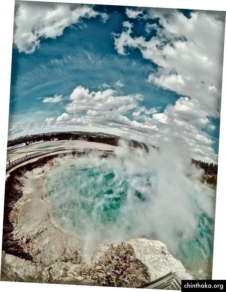 Dampf steigt aus einer heißen Quelle im Yellowstone-Nationalpark (Steven Donovan)