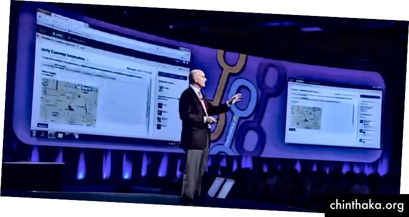 Двама потребители си сътрудничат в реално време, за да редактират формуляр, създаден в нашия дизайнер на формуляри за плъзгане и пускане, както беше демонстрирано на живо на сцената на 10 000 души през пролетта на 2012 г.