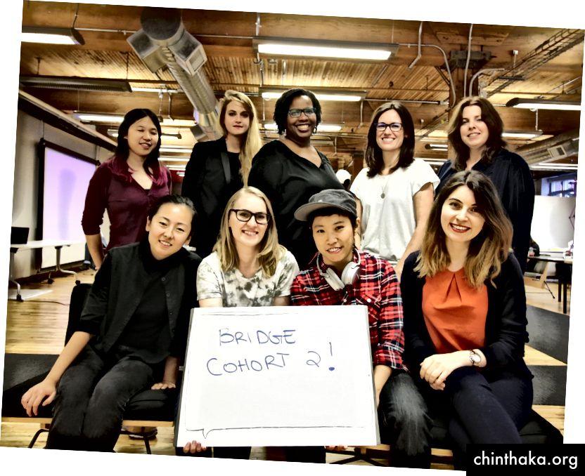 De fantastiske damer fra Bridge Cohort 2! Øverste række: Elizabeth, Aurelie, Simone, Jocelyn og Jen. Nederste række: Sarah, Alex, Maddie og Meltem.