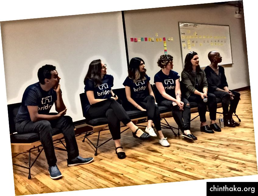 Fra venstre til højre: Abdella Ali, Lindsie Canton, Purvi Kanal, Emily Porta, Ella Gorevalov og Yaa Otchere.