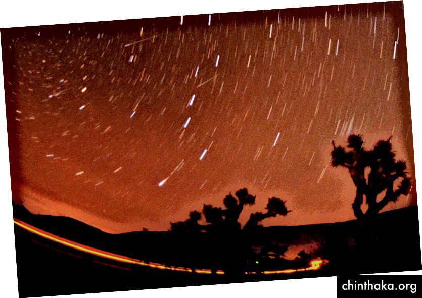 In dieser etwa 15-minütigen Zeitbelichtung, die am Sonntag um 3:20 Uhr PST (11:20 UT) endet, sieht man vier Leoniden-Meteore, die über dem Joshua Tree National Park, Kalifornien, im Nordwesten auftauchen. 18. November 2001 - AP Photo / Reed Saxon