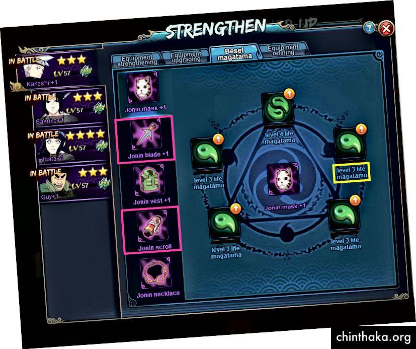 Auch wenn du zum Beispiel nur ein Level 4 Life Magatama hast, lege es auf dein Mainboard. Weil er wahrscheinlich der beste Ninja in Ihrem Kader ist und es immer sein wird.