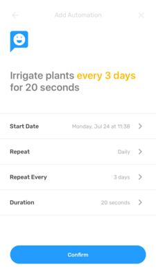 Screenshot der Smart Yields-App zum Hinzufügen von Automatisierung.
