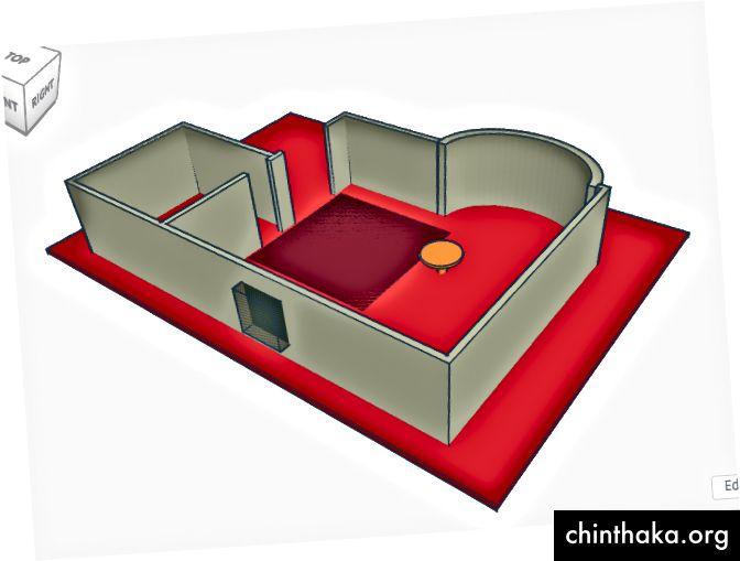 إضافة طاولة بسيطة مع اسطوانات وأرضية مع مربع.