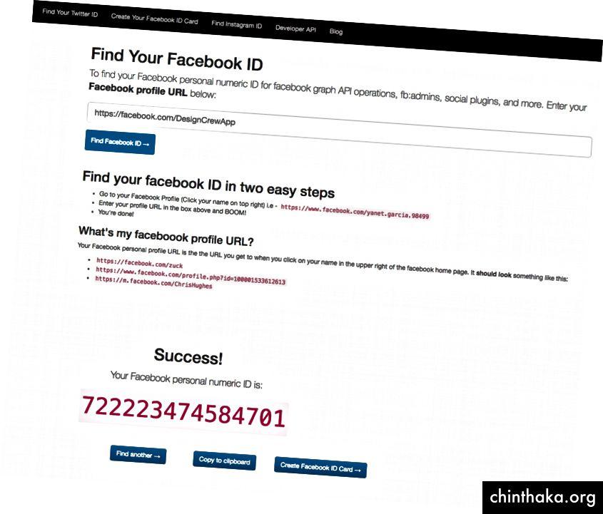 Alternativ können Sie diese Website verwenden, um Ihre Facebook-ID zu finden.