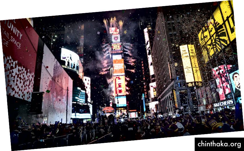 """Novogodišnji obred koji Amerikanci izvode u New Yorku svake godine 31. siječnja u ponoć, u kojem se džinovska kugla """"spusti"""" s vrha Time Square-a, a konfeti se puštaju da proslave dolazak još jedne godine."""