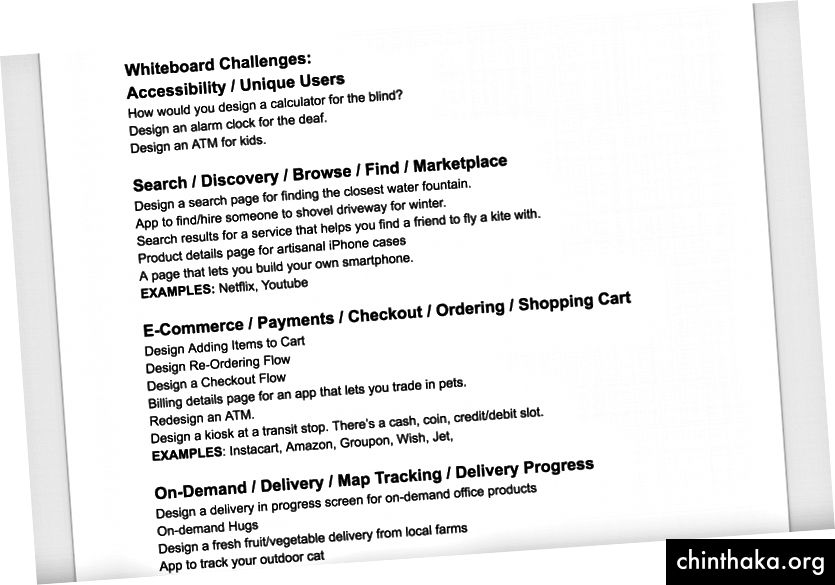 Meine Whiteboard-Herausforderungskategorien.