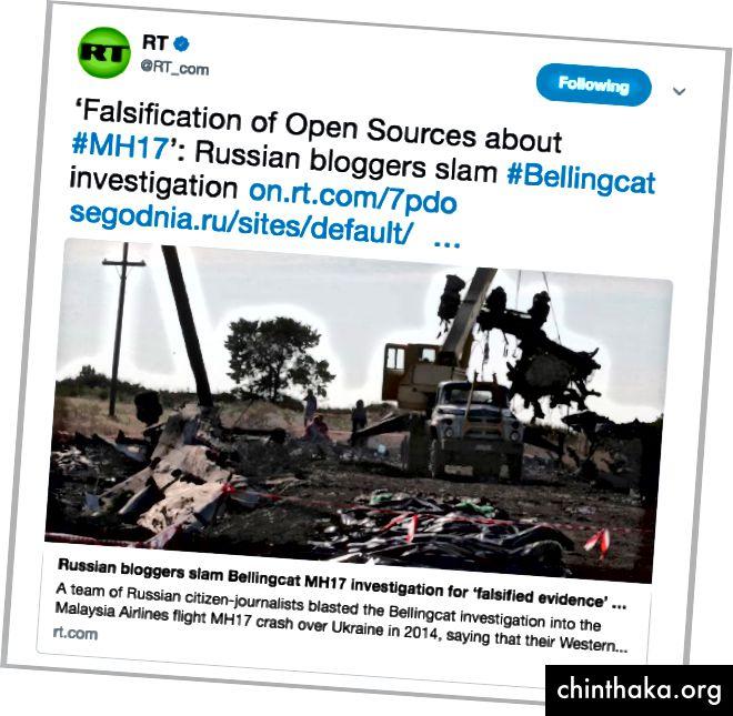 """RT post auf Bellingcat. @DFRLab hat gezeigt, dass es sich bei der Gruppe der """"Bürgerjournalisten"""", auf die sich der Artikel bezieht, tatsächlich um eine Gruppe von Kreml-Mitarbeitern handelt. (Quelle: Twitter / RT_com)"""