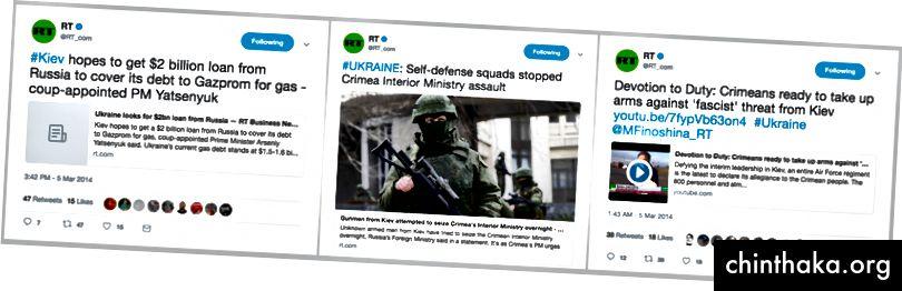 """RT-Posten in der ukrainischen """"Putschregierung"""", den """"Selbstverteidigungstrupps"""" und der """"faschistischen"""" Ukraine. (Quelle: Twitter / RT_com)"""