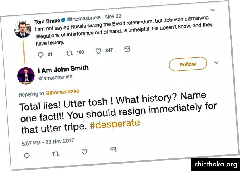 Der Beitrag von Tom Brake MP und die Antwort von @iamjohnsmith, der mit ziemlicher Sicherheit nicht John Smith ist. Archiviert am 20. Dezember 2017. (Quelle: Twitter)