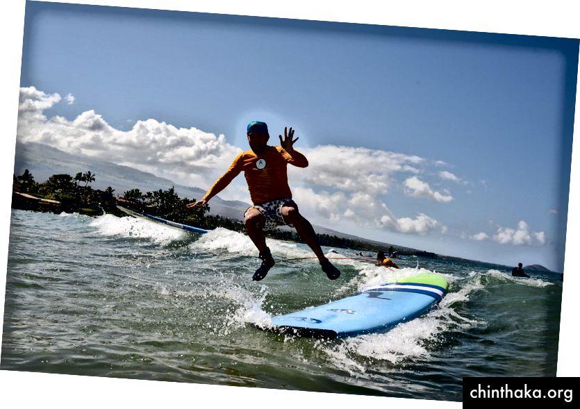 Forfatter Mark Schoneveld surfede efter sin diagnose.