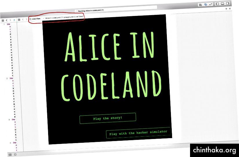 Alice in der Live-Ansicht von codeLand