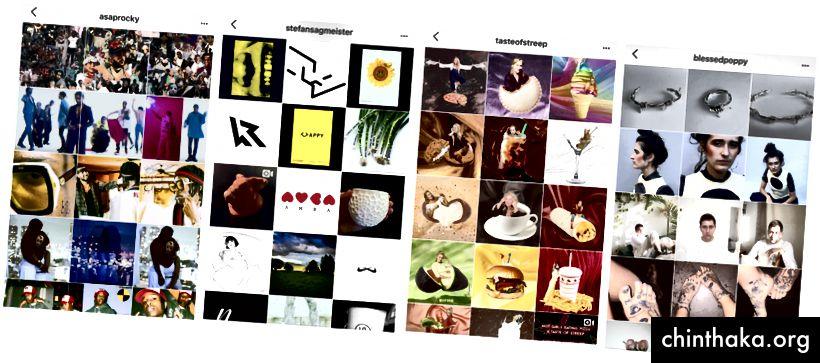 @viis__vtg, @stefansagmeister, @blessedpoppy, @tasteofstreep sind gute Beispiele für klar differenzierte visuelle Gitter.