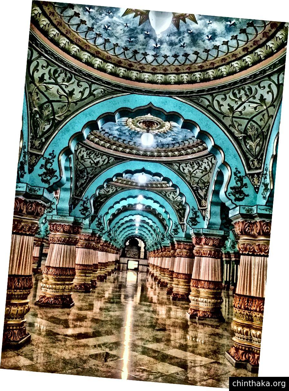 Rasterlayout in der Mi Camera App; Mysore Mahal, Karnataka, Indien