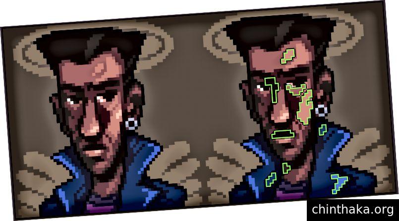 Nogle pixelklynger er fremhævet