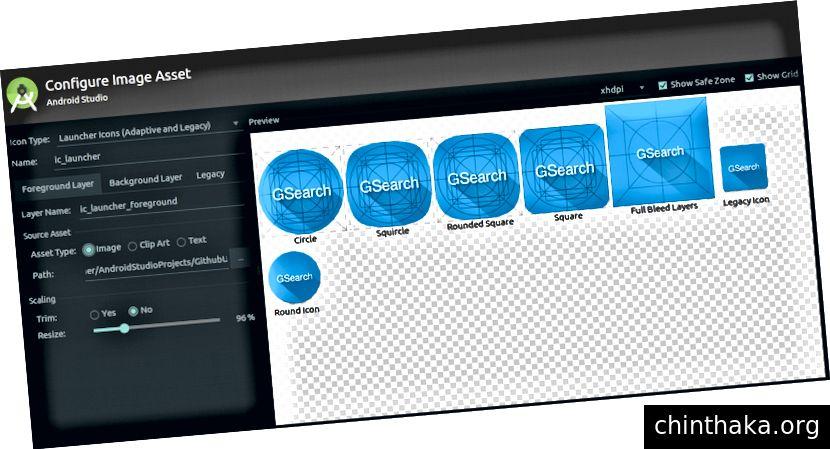 Android Studio'da uyarlanabilir simge yapılandırma penceresi