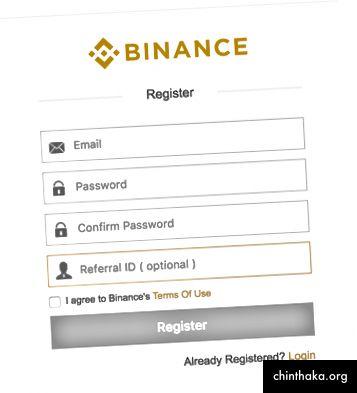 التسجيل في Binance