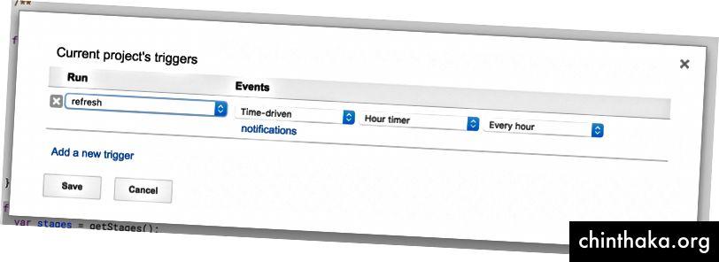إعداد مشغلات المشروع في Google Spreadsheet لتحديث البيانات بشكل متكرر