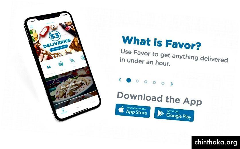 Die attraktiven und leicht zu verfolgenden Bilder auf der Homepage von Favor vermitteln, was die Marke ist und wie sie für potenzielle Kunden nützlich sein kann.