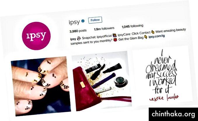 Instagram von Ipsy fördert eine leidenschaftliche Geschichte, die den Wert der im Abonnement enthaltenen Produkte zeigt.