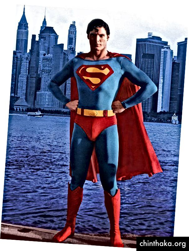 Chris Reeves poserer som Superman i 1978