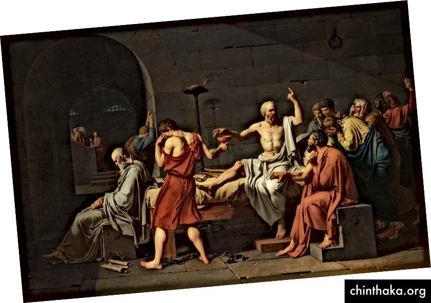جاك لويس ديفيد ، وفاة سقراط. (المصدر: ويكيبيديا). في النهاية تم إعدام سقراط بسبب استجوابه المتواصل للمعتقدات التقليدية.