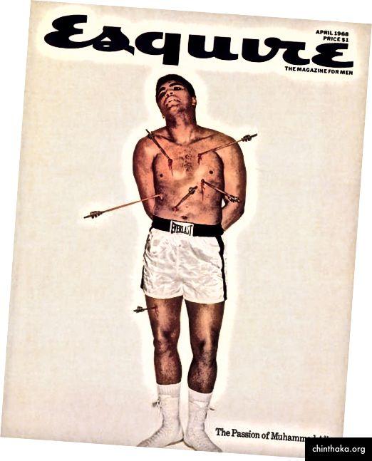يتمتع كاريسون بشخصية جذابة للغاية ، وكان يشتهر بأعماله خارج الحلبة كما كان موهوبته الاستثنائية في ذلك. أصبح أكثر من ملاكم ، أصبح ظاهرة ثقافية بفضل إيمانه الجرأة بالنفس. علي على غلاف Esquire (المصدر: ويكيميديا كومنز).