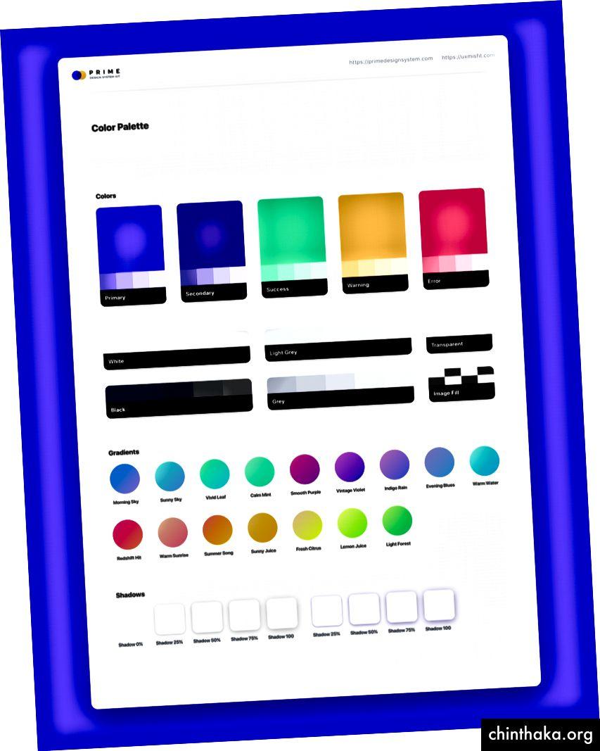 Configuración de color en Prime Design System Kit