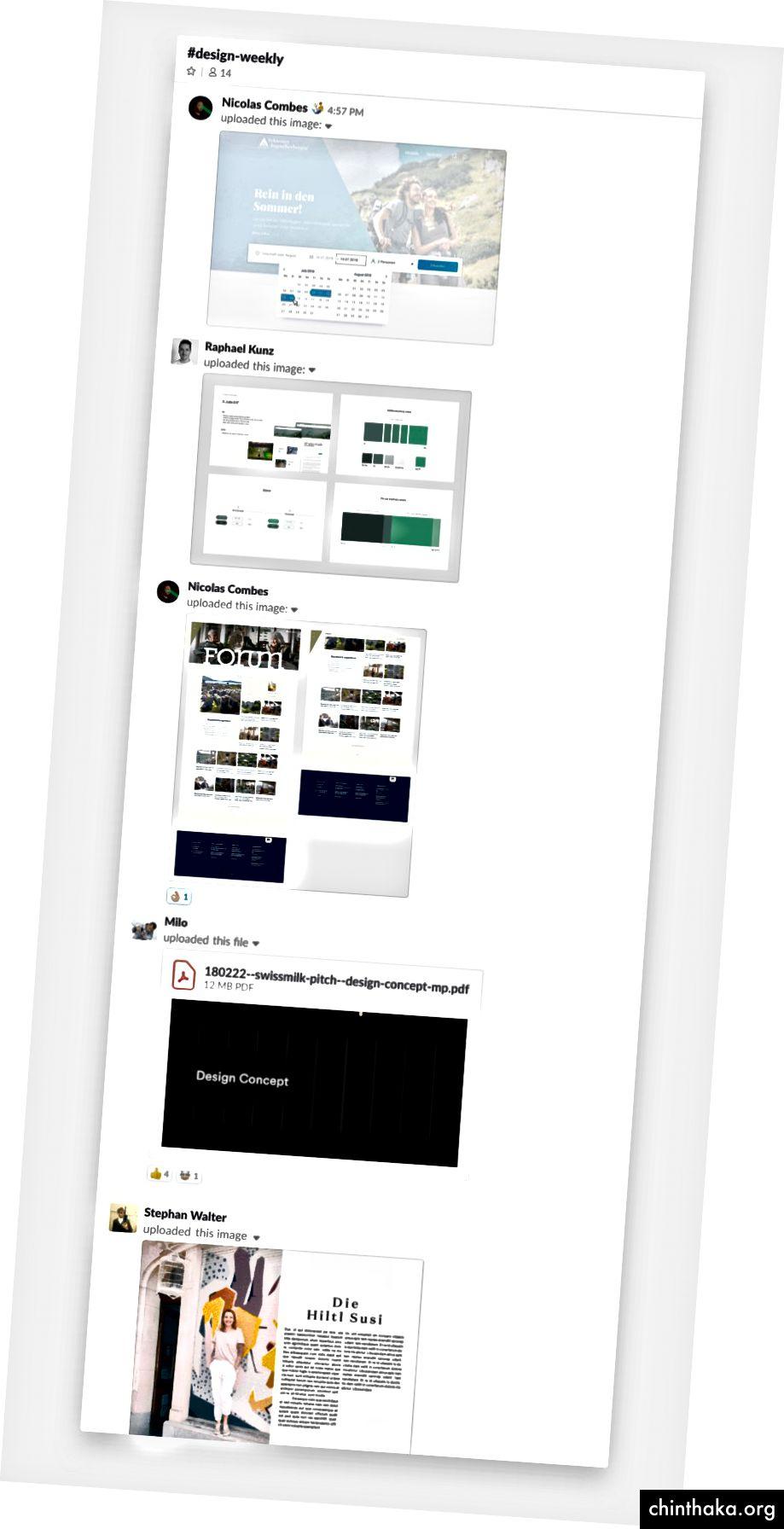 So sieht unser Slack Channel Stream in # design-week an einem Freitag gegen 17 Uhr aus.