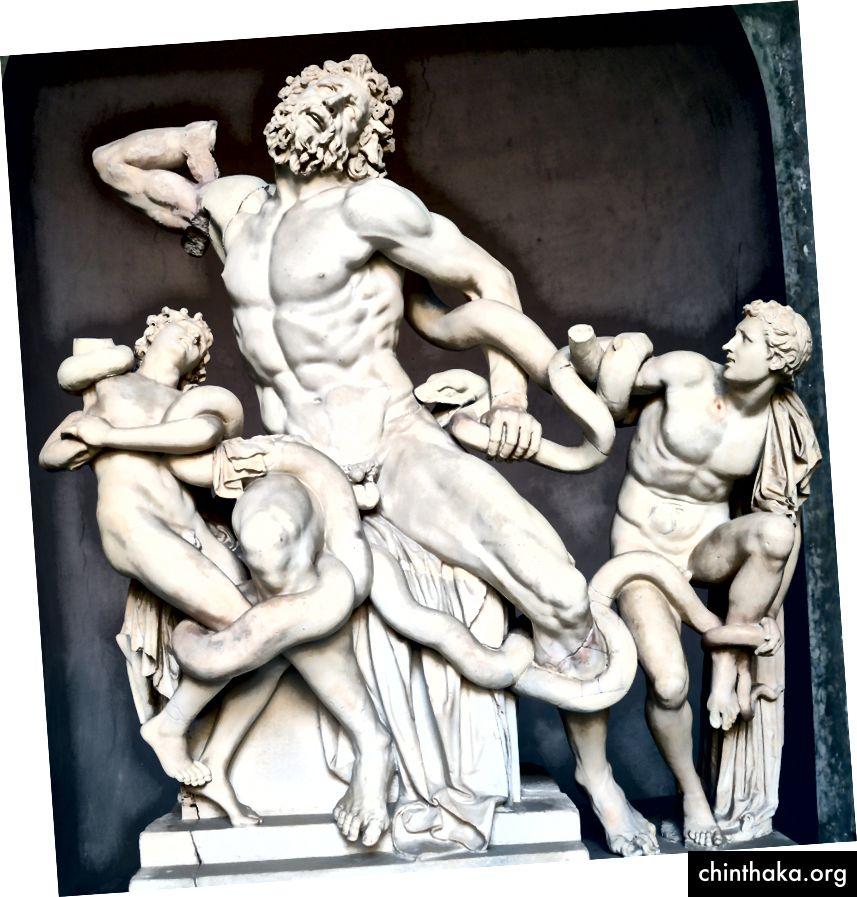 'Laocoön og hans sønner,' antages at stamme fra det tidlige første århundrede f.Kr. Du kan se denne skulptur på Vatikanets museer i Rom. Billede: Wikimedia Commons / CC BY-SA 4.0