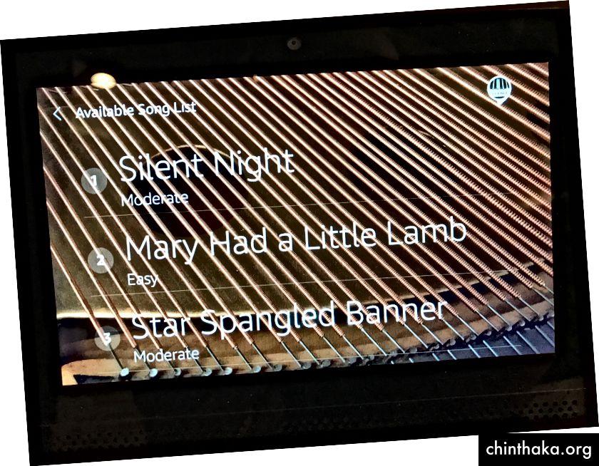 Screenshot von Piano Teacher Skill in einer Alexa Show