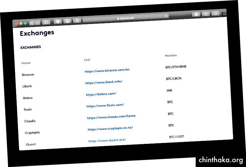 Flere udvekslinger begynder at hente Skycoin, så se Skycoin-bloggen for opdateringer.